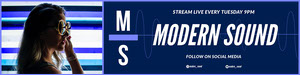 White and Navy Blue Modern Sound Twitch Banner Music Banner