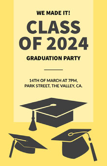 Black and Yellow Graduation Party Poster Poster