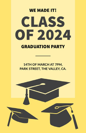 Black and Yellow Graduation Party Poster Valmistujaisonnittelukortit