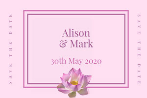 Pink and White Save The Date Card Save the Date Postcard