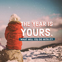 Pink Toned Woman in Coat on Rock, New Year,  Instagram Graphic Happy New Year Quotes