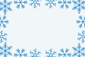 Blue WInter Snowflake Frame Name Tag Etichetta nome