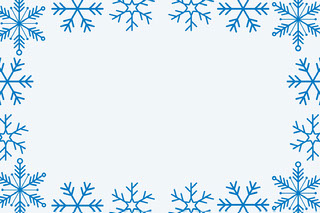 Blue WInter Snowflake Frame Name Tag Navneskilt