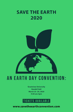 Green Illustrated Earth Day Campaign Poster Earth