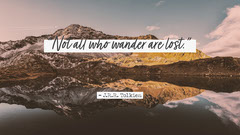 White and Grey J.R.R. Tolkien Quote Desktop Wallpaper Mountains