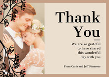 brown border wedding thank you  Bryllupstakkekort