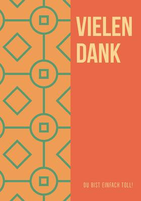 orange patterned thank you cards  Danksagungskarte