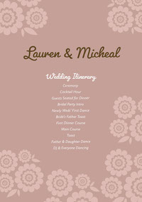 Green and Violet Wedding Ceremony Program programmes