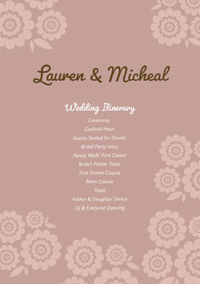 Green and Violet Wedding Ceremony Program Wedding Program