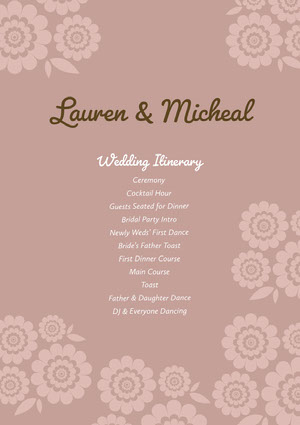 Green and Violet Wedding Ceremony Program Roteiro de viagem