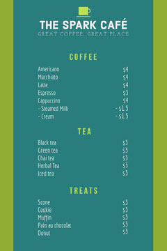 Green and Teal Cafe Menu Drink Menu