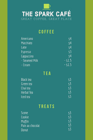 Green and Teal Cafe Menu Cafe Menu