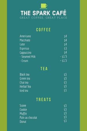 Green and Teal Cafe Menu Drink Menu