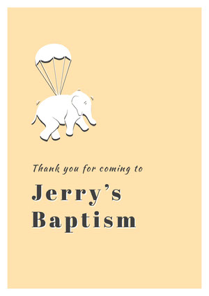Orange White and Black Thank You Card Baptism Thank You Card