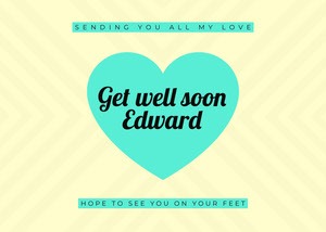 Blue and White Get Well Soon Card God bedring-kort