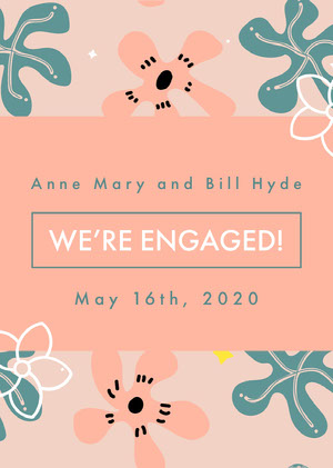 Pink and Navy Blue Engagement Card Wedding Announcement