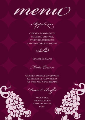 Purple and Pink Elegant Calligraphy Wedding Menu Menú