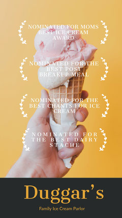 Movie Poster Style Ice Cream Shop Instagram Story Ice Cream Social Flyer
