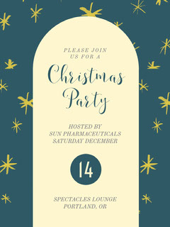 Blue and White Christmas Party Invitation Holiday Party Flyer