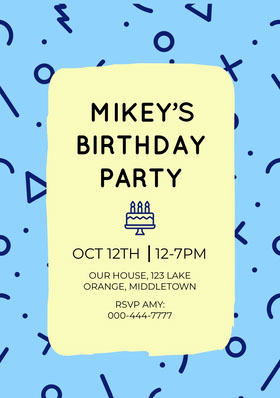 Light Toned  Birthday Party Invitation Card Birthday Invitation (Boy)