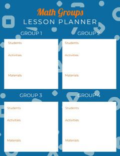 White and Blue Math Lesson Planner Math