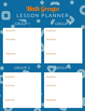 White and Blue Math Lesson Planner Horario de clase