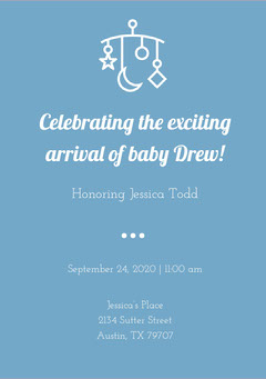 White and Blue Baby Shower Invitation Baby Shower