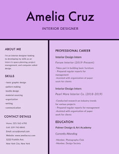 Pink Interior Designer Resume Interior Design