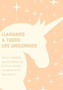 yellow stars and orange unicorn birthday cards  Tarjeta de cumpleaños