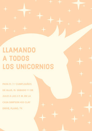 yellow stars and orange unicorn birthday cards  Tarjeta de cumpleaños de unicornio