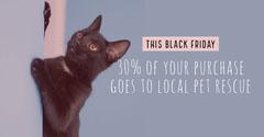 Blue With Black Cat Shop Sale Advertisement Thanksgiving Sale