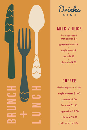 Orange Drinks Menu Brunch  Menü