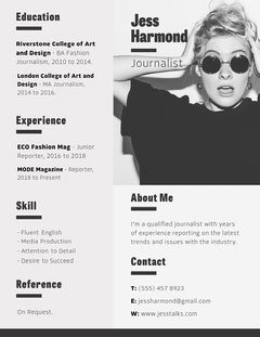 White Black and Grey Journalist Resume Fashion Magazines Cover