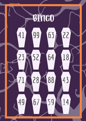Drop Dead Halloween Coffin Party Bingo Card Bingokort