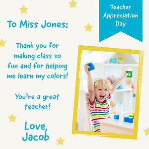 Blue and Yellow Teacher Appreciation Instagram Square with Boy Online Teacher's Day Card