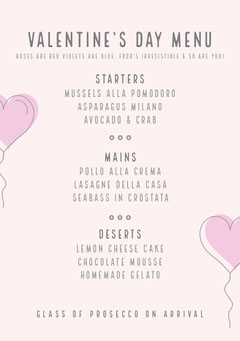 Valentine's Day Menu Heart
