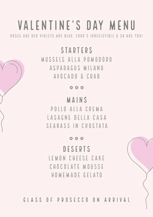 Gray and Pink Balloon Heart Valentine's Day Party Menu Menu
