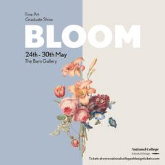 Purple Cream Pink Floral Fine Art Graduate Show Poster  Art Show