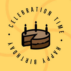 Yellow and Brown Chocolate Birthday Cake Icon Celebration Time Animated Instagram Square Cakes