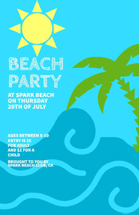 Blue, Light, Yellow and Green, Light Toned Beach Party Poster 포스터
