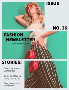 Teal Fashion Newsletter with Fashion Model Fashion