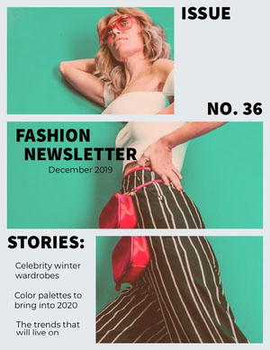 Teal Fashion Newsletter with Fashion Model Newsletter