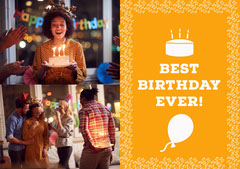 Yellow Birthday Graphic with Party Photo Border