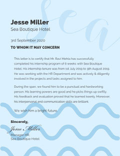 Blue Work Experience Certificate Letter Hotels