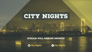 Yellow and White City Nights Banner Banneri