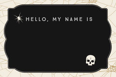 Black, White and Gold, Dark, Scary, Halloween Party Name Tag Card Halloween Party Name Tag