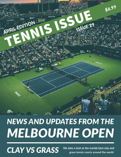 Green With Stadium View Tennis Issue Magazine Cover Tennis