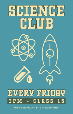 Blue and White, Science Club, Poster After School