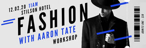 Blue and Black Fashion Workshop Event Ticket with Male Model Graduation Card