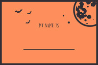 Orange Bats and Moon Halloween Party Name Tag Festa di Halloween